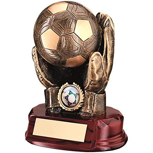 BRZ/GOLD RESIN FOOTBALL GOALKEEPER 'BALL IN HANDS' TROPHY - (1in CENTRE) 7in