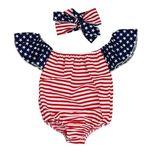 Fheaven Newborn Baby Girl Off Shoulder Flag Striped Clothes Romper Jumpsuit +Headbands (18M, (Xs Reversible Unisex Pants)