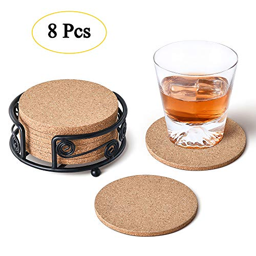 Natural Cork Coasters with Metal Holder-set of 8-4