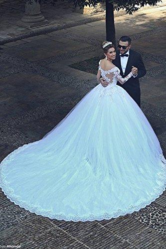 Changjie Hochzeitskleid Weiß SpitzeApplique Brautkleid Damen Prinzessin Langarm f00aqZH6T
