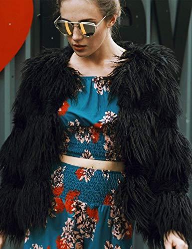 Moda Corto Piel Chaqueta Mujer Schwarz Joven Elegante Manga Cardigan Abrigos Color De Party Sólido Larga Retro Invierno Sintética Polares Caliente rZrxwt5d