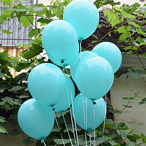 12 in Aqua Blue Balloons Turquoise Thick Latex Balloons for Christmas Decoration Carnival Festival Birthday Party Pack of 50