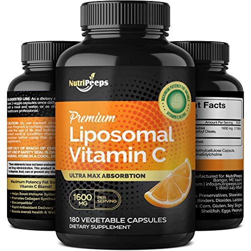 NutriPeeps Liposomal Vitamin C 1600mg, 180 Veggie Capsules, Ultra Max Potency & Absorption, Fat Soluble VIT C Pills, Immune System Support, Collagen Booster, Antioxidants, Non-GMO, Vegan Supplement