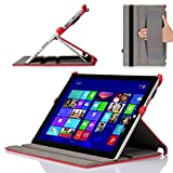 MoKo Microsoft Surface Pro 3 Case - Slim-Fit Multi-angle Folio Cover Case for Microsoft Surface Pro 3 12 Inch Tablet, Carbon Fiber RED