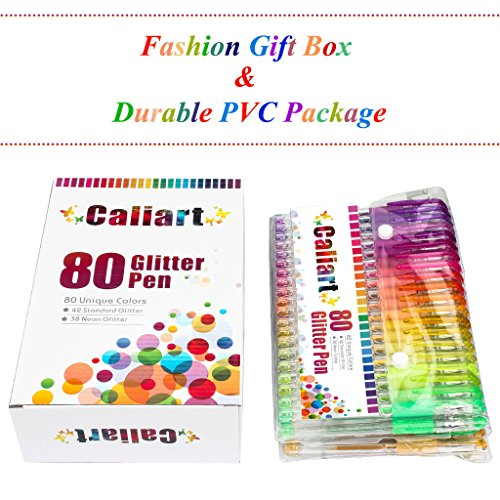 CLEARANCE SALE!! Caliart 80 Glitter Gel Pens Coloring Pens Set for Adult Coloring Books Bullet Journal Scrapbooking Crafting Doodling Drawing