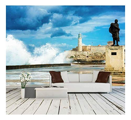 wall26 - The Castle of El Morro in Old Havana Among Huge Sea Waves - Removable Wall Mural | Self-Adhesive Large Wallpaper - 100x144 ()