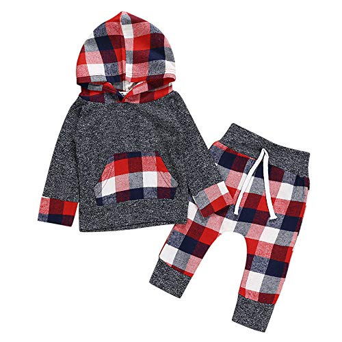 Newborn Baby Girls Boys 3-24 Months Plaid Hooded Tops Sweatshirt Pants Outfits Set ()