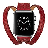 Lywey Clearance Double Tour Leather Accessory Band Replacement Bracelet for Apple Watch 4 44mm
