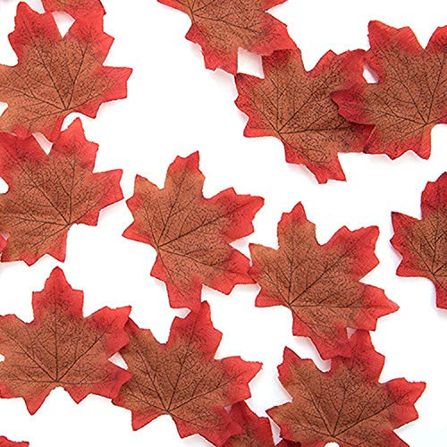 50pcs 8cm Vivid Artificial Silk Maple Leaves for Home Wedding Party Decoration Accessories Scrapbooking Fake Flower ()
