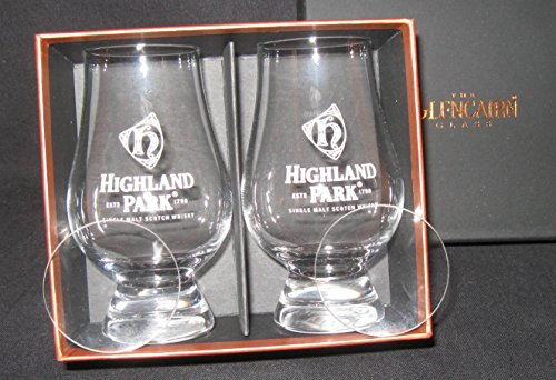 - Highland Park Distillery Logo Scotch Whisky Glencairn Two Glass Boxed Set with Two Watch Glass Covers