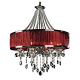 KHSKX Continental candle chandelier minimalist living room/bedroom/dining room/hallway/stairs/modern luxury crystal chandelier , red shade