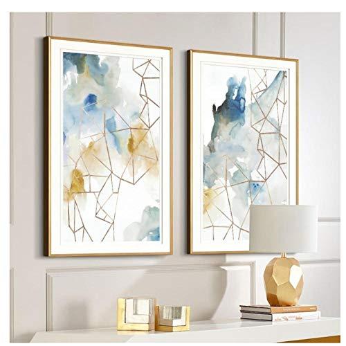 Acuarela abstracta Geometrica Arte de la pared Impresiones Lienzo Pinturas Europa Poster e impresiones Fotos Oficina Sala de estar Decoracion para el hogar 50 70 cm Sin marco