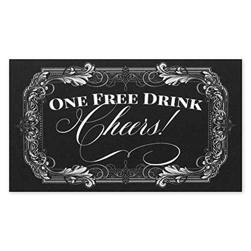 Drink Tickets for Events - One Free Drink Cheers for Black Tie Formal Wedding - Size 3.5x2 inches - Pack of 50 for $<!--$8.99-->
