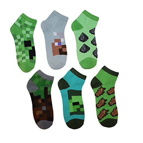 Minecraft Creeper Boys Ankle Socks 6 Pairs S/M Shoe Size - Novelty Minecraft