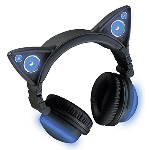 Brookstone Wireless Cat Ear Headphones Bluetooth Headset  Color Changing