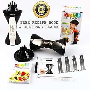 NimNik Kitchenette Vegetable Spiral Slicer Bundle with Japanese Steel Julienne Blades - Black