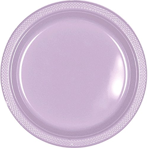 Amscan Party Ready Disposable Round Luncheon Plates Tableware, Lavender, Plastic, 9'', Pack of 20 Others Supplies (200 Piece) by Amscan