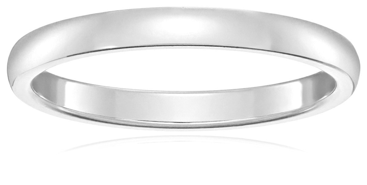 Classic Fit 10K White Gold Band, 2mm Amazon Collection 02110K