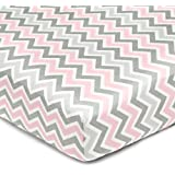 American Baby Company 100-Percent Cotton Percale Fitted Crib Sheet, Pink Zigzag