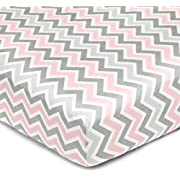 American Baby Company 100% Cotton Percale Fitted Crib Sheet for Standard Crib and Toddler Mattresses, Pink Zigzag