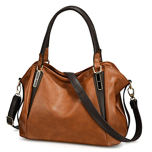 Vbiger Leather Handbags For Women Large Capacity Zipper Tote Bag (Brown2)