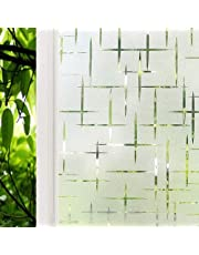 Window Film 17.72 x 157.48 inch Static Cling Privacy Glass Window Cling Frosted Window Film Non Adhesive Window Sticker for Home Kitchen Office Meeting Room Living Room, Cross Pattern