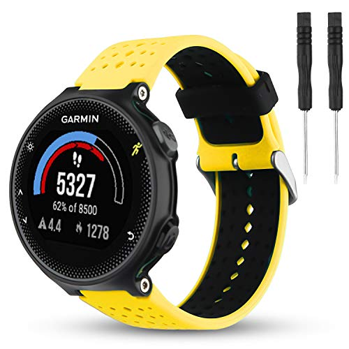 Wizvv Compatible Bands Replacement for Garmin Forerunner 235 220 230 620 630 735, Soft Comfortable Smooth Silicone Wristband for Women Men (Yellow&Black)