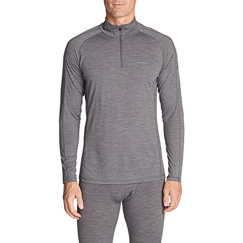 Eddie Bauer Men's Heavyweight FreeDry Merino Hybrid Baselayer 1/4-Zip, Htr Gray (Bauer Mens Underwear)