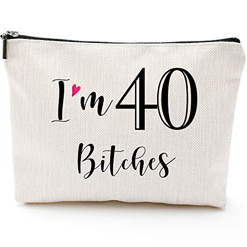 I'm 40,40th Birthday Gifts for Women,Boss,Wife,Mother,Daughter Makeup Bag, Milestone Birthday Gift for Her, Presents for Turning Forty and Fabulous