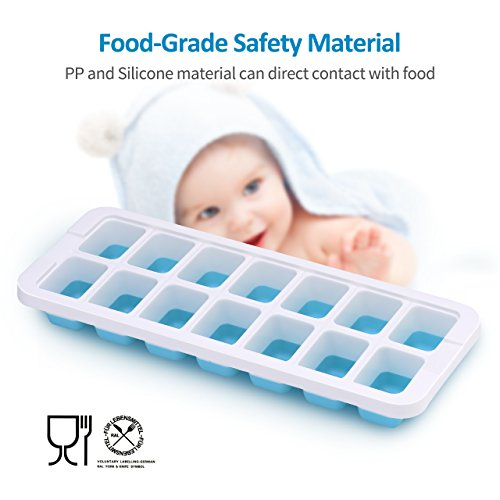 OMorc Ice Cube Trays 4 Pack [Upgraded Version], Easy-Release Silicone and Flexible 14-Ice Trays with Unique Removable Lid, Make Larger Ice Cubes, BPA Free, Stackable Durable and Dishwasher Safe by OMORC (Image #1)