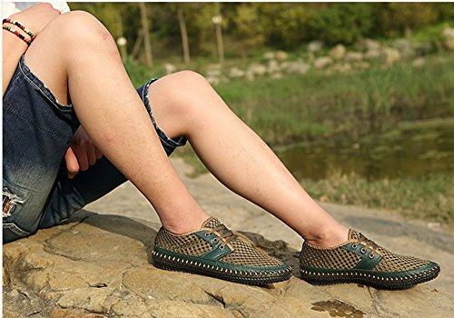Verano y de Transpirable de Hombres Malla Moda Zapatos Ligeros Casuales Verde Zapatos Para Huateng PxFvgRtn4