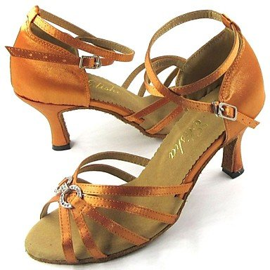 XIAMUO Latin CustomizableWomen's Sandalen anpassbare Heel Satin mit Strass Schuhe, Gold, UNS 6,5-7/EU 37/ UK 4,5-5/CN 37