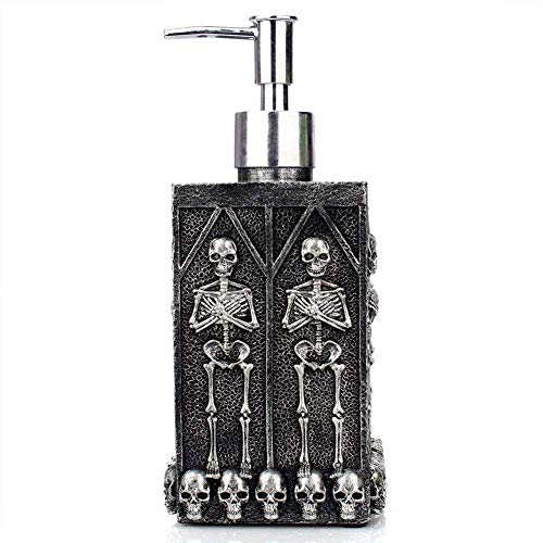 NPL Skull Design Dark Style Refillable Hand Soap Dispenser Liquid Pump for Kitchen Bathroom Home Hotel Office Design Halloween Gravely Scary Spooky Fantasy -