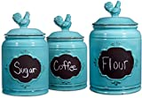 Home Essentials & Beyond 72018 Aqua Rooster Chalkboard Canisters