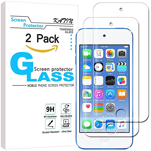 KATIN iPod Touch Screen Protector - [2-Pack] For Apple iPod Touch 6G (6th Generation) / 5G (5th Generation) Tempered Glass [No-Bubble] 9H Hardness with Lifetime Replacement (Replacement Ipod Screens)