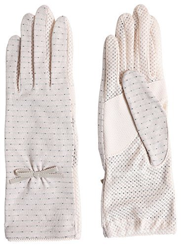 Women Sunblock UV Protection Cool touch fabric Mesh Ribbon Dots Outdoor Gloves Summer Japan Import by GlovesDEPO Beige