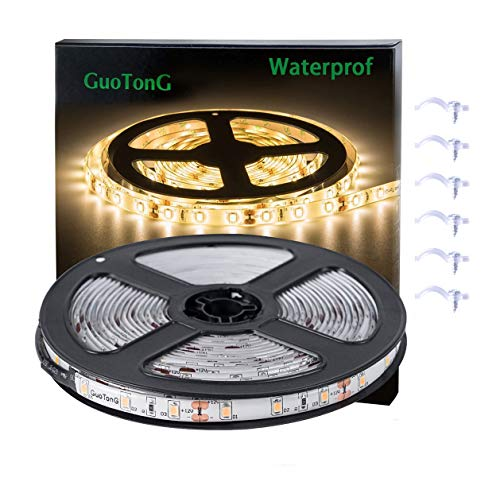 GuoTonG Flexible Waterproof LED Light Strip, 300 Units SMD 2835 LEDs, 3000K Warm White 12V LED Tape, Led Ribbon, 16.4ft/5m Lighting Strips ()