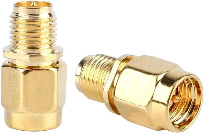 2pcs SMA Macho (Pin) a RP-SMA Hembra (Pin) Adaptador RF Antena coaxial Conector Chapado en Oro