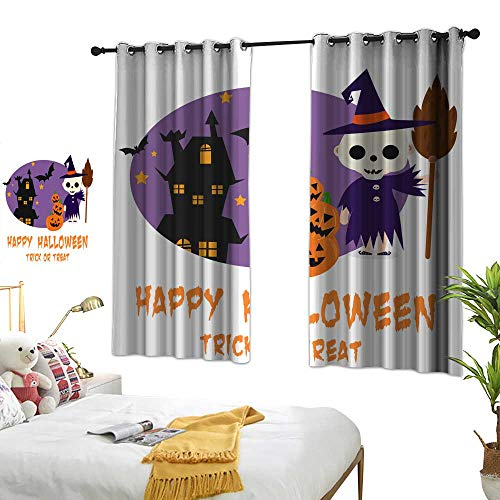 wwwhsl Diversified Curtains Halloween Background with Lovely Costumes Blackout Living Room/Bedroom Window Curtains W96.4 xL72]()
