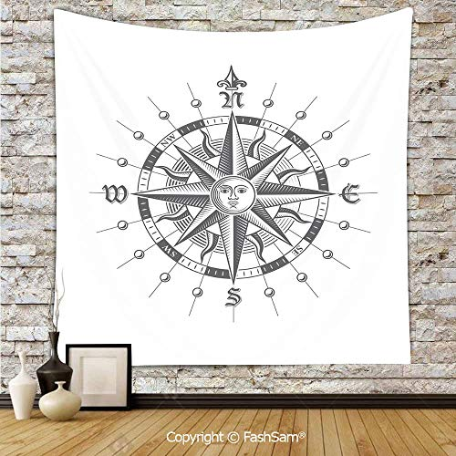 Tapestry Wall Hanging Hand Drawn Compass with The Face of The Sun on Directions North South East West Sailing Decorative Tapestries Dorm Living Room Bedroom(W59xL90) -