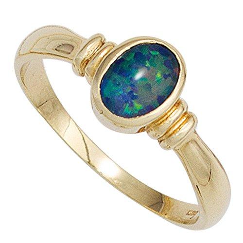 Bague bague pour femme avec Opale Ovale Bleu/Vert Or jaune 585Bague bague Opale Or