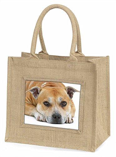 Advanta rot Staffordshire Bull Terrier Hund Große Einkaufstasche/Weihnachten Geschenk, Jute, beige/natur, 42x 34,5x 2cm