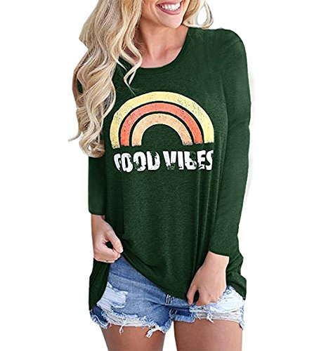 Long Sleeve Loose Neck Tops Tees Vibes Green T Womens Shirts Graphic Rainbow Good Crew wxInqCBaXa