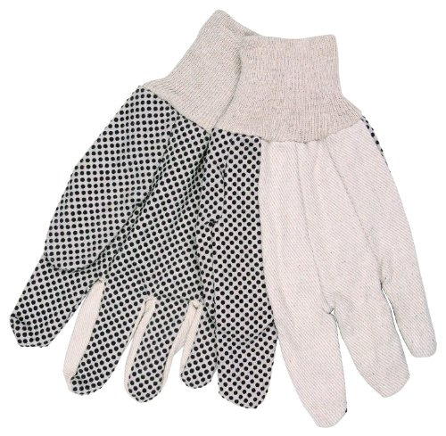 Mens Pvc Dotted Canvas - MCR Safety 8808 Cotton Canvas Dotted Standard Weight Knit Wrist Men's Gloves with Straight Thumb, White, Large, 1-Pair