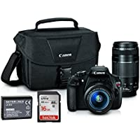 Canon EOS Rebel T5 18MP EF-S Digital SLR Camera Warranty with canon EF-S 18-55mm f/3.5-5.6 IS II Zoom Lens & EF 75-300mm f/4-5.6 III Telephoto Zoom Lens + Case + extra Battery + 16GB SD Card Bundle Basic Intro Review Image