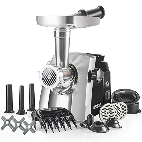 STX Turboforce Cadet - GEN 2 Platinum Edition - Size #8 Electric Meat Grinder & Sausage Stuffer - 3 Grinding Plates, 3 S/S Blades, 3 Sausage Tubes, 1 Kubbe Maker, 2 Meat Claws and Burger-Slider Press