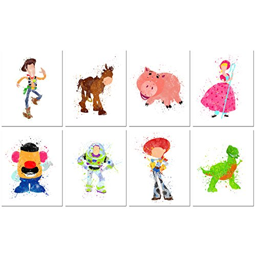 Toy Story Watercolor Prints - Set of Eight 8x10 Photos - Kids Wall Art Decor
