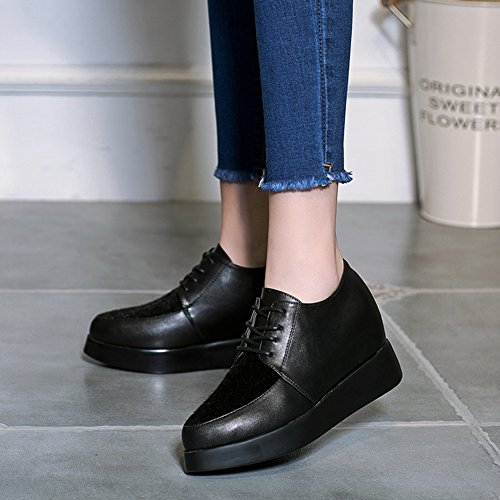 GIY Women Fashion Pointed Toe Platform Oxfords Shoes Wedge Thick Bottom Lace-up Low-top Casual Shoes Black EK09AvG