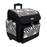 Everything Mary wit Deluxe Teal Geometric Rolling Organizer Papercrafting Storage Tote for Paper, Binder, Tools, Scissors, Stamps-Telescoping Handle with Dual Wheels-Craft Case