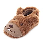 Beeliss Baby Loafers Cartoon Walkers Plush Cirb Shoes (0-6 Months, Coffee)